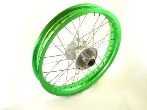 HMParts Pit Dirt Bike/Cross - Aluminio Llantas Anodizado 16 Trasero Verde