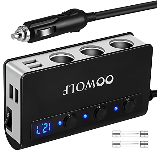 OOWOLF QC 3.0 Carga Rápida 180W Adaptador De Encendedor De Cigarrillos, 3 Puertos Adaptador Cargador De Coche 12V/24V para GPS, Dash CAM, Sat Nav, iPhone,Teléfono,Tableta, y etc