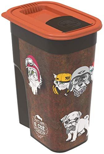 Rotho Flo, Recipiente de comida para mascotas de 4.1 l con tapa y solapa, Plástico PP sin BPA, marrón, naranja, 4.1l 19.5 x 13.6 x 27.0 cm