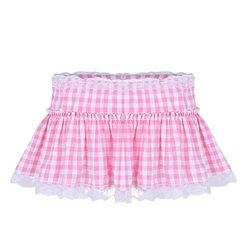 iiniim Falda a Cuadros para Mujer Hombre Unisex Sexy Minifalda Plisada Club Falda Encaje Picardias Disfraz Erótico Uniforme Escolar Colegiala Rosa Medium