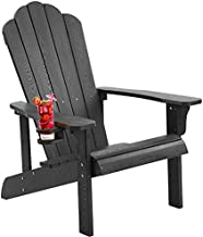 hOmeHua Hard Plastic Adirondack Chair Weather Resistant with Cup Holder, Imitation Wood Stripes, Easy to Assemble & Maintain, Outdoor Chair for Patio, Backyard Deck, Fire Pit & Lawn Porch - Black