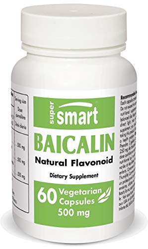 Supersmart - Baicalin 500 mg Per Day - Scutellaria Baicalensis Extract - Natural Alternatives to Benzodiazepines - Combats Anxiety | Non-GMO & Gluten Free - 60 Vegetarian Capsules