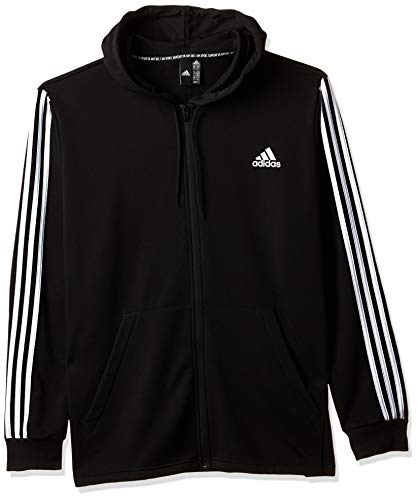 adidas Herren Must Haves 3-Streifen Full Zip Hoody, Black/White, L