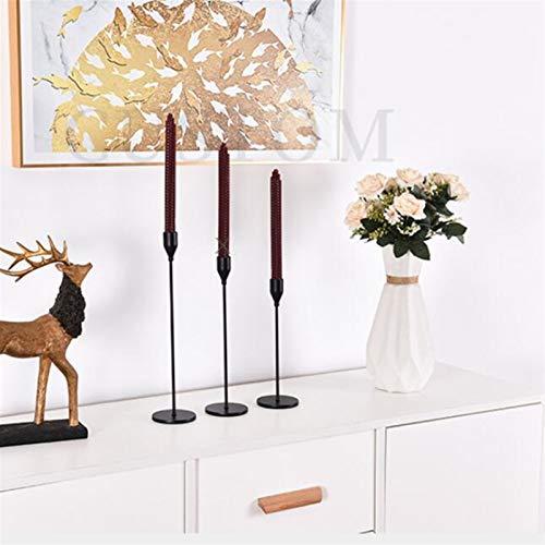HYTM Candelabro Soportes de Vela de Metal Candelabro Moda Moda Vela Soporte Exquisito Candlestick Navidad Mesa Decoración del hogar (Color : Black, Size : 1PC 24CM Height)