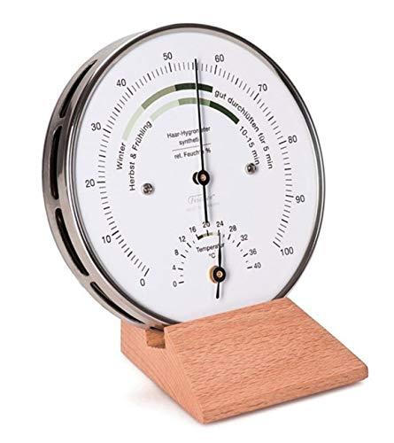 Fischer Wohnklima Hygrometer Thermometer mit Sockel 122.01HT-02, Ausführung:Echtholzsockel Buche natur