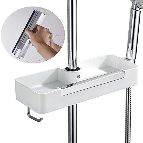 OLEAH estante de ducha con soporte de pared para barra de ducha estante de ducha ajustable de altura, organizador con ganchos,cuarto de baño espejo,ventana, barra de ducha con diámetro de 22mm~25 mm