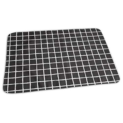 Abstract Geometrische Zwart en Wit Geruit Vierkante Streep Trend Patroon Grid Bed Pad Wasbaar Waterdichte Urine Pads voor Baby Peuter Kinderen en Volwassenen 27.5 x19.7 inch