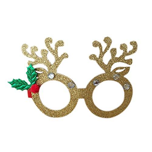 ROSENICE Occhiali cosplay natale ROSENICE Occhiali con corno renna glitter per decorazione natalizia (d'oro)