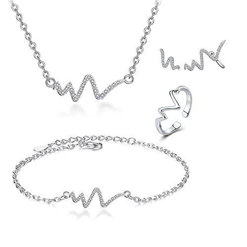 HCMA Nuevo Conjunto de Joyas de circonita cúbica Nupcial Ondulada a la Moda para Mujer Collar + Pendientes + Anillo + Pulsera Regalos de joyería de Boda