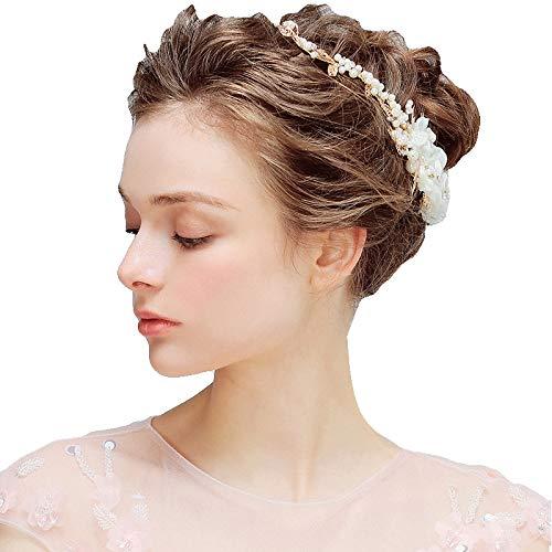 DEAR-JY Hochzeit Haarschmuck,Gold Europäischen Und Amerikanischen Braut Tiara Süße Perle Haarschmuck Zubehör Handgemachte Blume, Elegant Und Romantisch Für Den Alltag Und Hochzeitskleidung