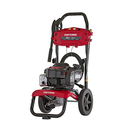 CRAFTSMAN 2800 MAX PSI at 1.8 GPM Gas Pressure Washer with Ready Start, 25-Foot Hose, and 4 Quick-Connect Nozzles, Powered by Briggs & Stratton