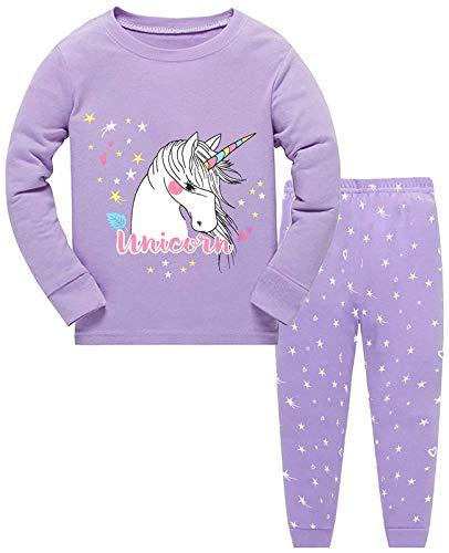 Little Hand Mädchen Schlafanzug Langarm Herbst Winter Kinder Nachtwäsche Eule Einhorn Pyjama Set, Einhorn-2, 116 /HerstellerGröße: 130
