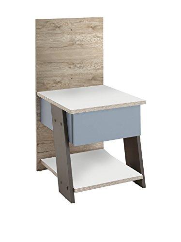 FMD Möbel Nona 3 Nachttisch, Holz, sandeiche / weiß / lava / blau, 34 x 39 x 69.5 cm