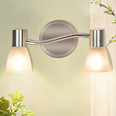 DLLT Industrial Track Lighting, Directional Spot Wall Light with Glass Shade, 2-Light Adjustable Flush Mount Tracking Light for Kitchen, Office, Bedroom, Picture Wall, Hallway, E12 Base
