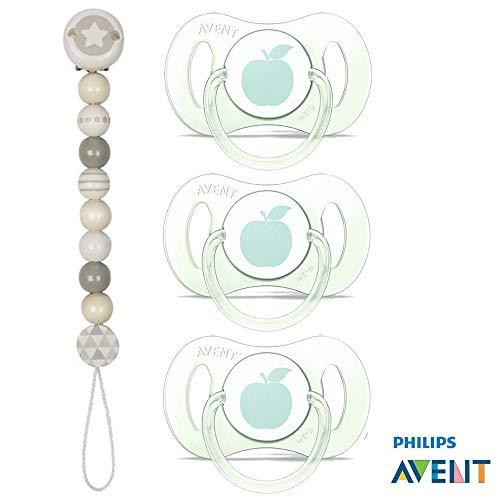 Philips Avent Schnuller Mini mit Hygienekappe // 0-2 Mo // Soft Colours Saugteil extra klein für Früh- und Neugeborene // 3er Set // inkl. aufsteckbarer Hygienekappe + Holzschnullerkette