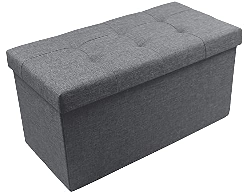 Zedelmaier Sitzhocker Sitzbank faltbar mit Stauraum belastbar bis 300 kg 76 x 38 x 38 cm(Leinen - Dunkelgrau)