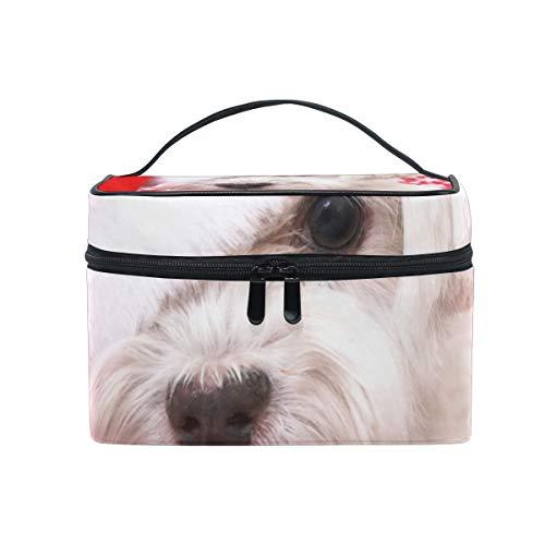 Neceser de maquillaje para perro maltés blanco en sombrero de Navidad portátil...