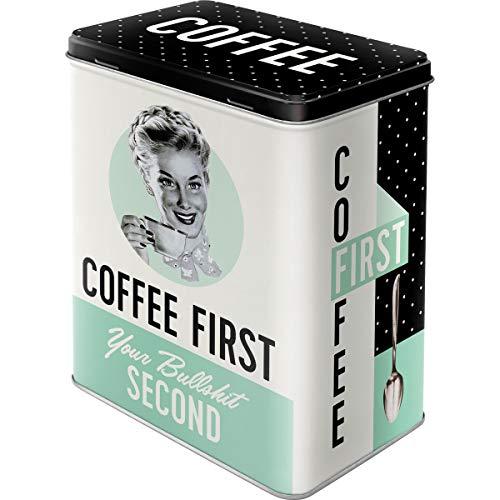 Nostalgic-Art Retro Vorratsdose L Geschenk-Idee für Nostalgie-Fans, Große Kaffee-Dose aus Blech, Say it 50's - Coffee First, 3 l