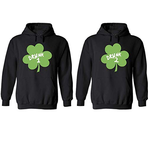 Drunk 1 Drunk 2 Couple Hoodies Set, Gift for him and her Matching Newlywed Anniversary Wedding Couples Hoodie