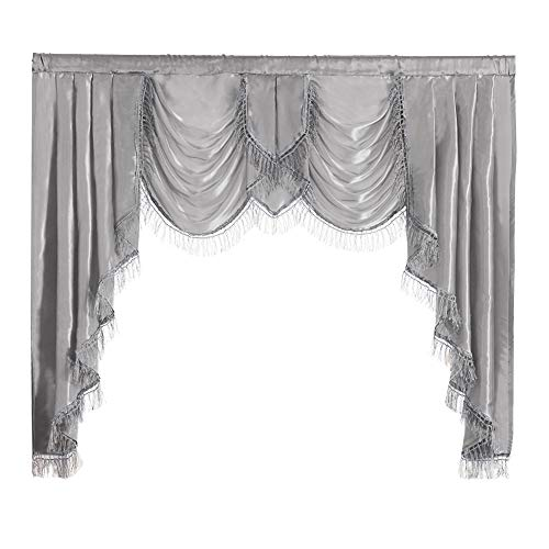 NAPEARL Soft Satin Swag Valance Curtains, Waterfall Valance with Tassles for Bedroom Living Room, 1 Piece Grey Window Valance, 61 x 49 Inch