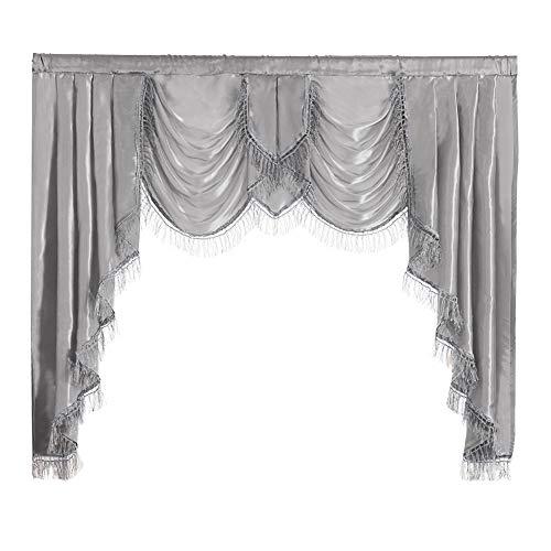 "NAPEARL Polyester Satin Curtain Valance (Gray, 1 Valance 61""W x 49"" L)"