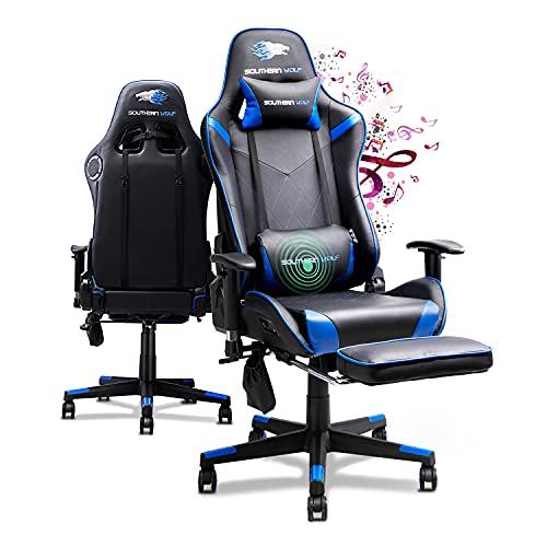 SOUTHERN WOLF Gaming Stuhl mit Fußstützen Bluetooth Lautsprecher, Gamingstuhl mit Massagefunktion, Racing Stuhl Bürostuhl Schreibtischstuhl Sportsitz mit Lendenkissen, bis 150kg belastbar