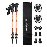 Hiker Trekking Hiking Poles Telescopic / Aluminum Alloy / Comfort BMM Handle / Auto-Adjustable Strap / Quick Flip Lock / Snow Baskets Attached (Pack of 2 Poles) (Orange & Black)