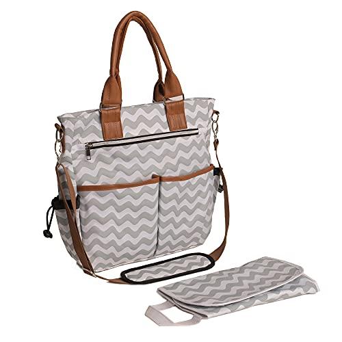 wuuhoo® I Wickeltasche Emily, elegant für unterwegs I lässige und stilvolle Baby-Reisetasche mit Kinderwagen-Befestigung I multifunktional mit sinnvollen Staufächern I verschiedene Styles grau