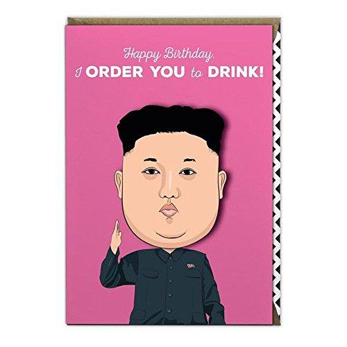 Beroemde gezichten grappige groeten gelegenheid verjaardagskaart Kim Jong Un