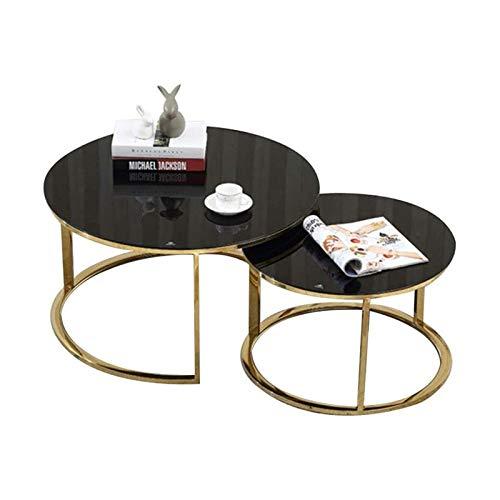 ZXNRTU Diseño Simple Mesa de café Conjunto de 2 Moderna Mesa Auxiliar Mesa Auxiliar Mesa for sofá for Home Office Sala, Templado Superior de Cristal y Marco de Metal