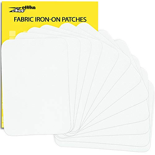 ZEFFFKA Premium Quality Fabric Iron On Patches White Label for Clothes 12 Pieces 100% Cotton Repair Kit 3' by 4-1/4'