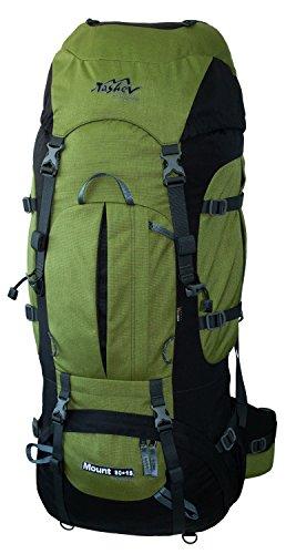 Tashev Outdoors Mount trekkingrugzak wandelrugzak dames heren backpacker rugzak groot 80l plus 15l met regenbescherming groen & zwart (gemaakt in EU)