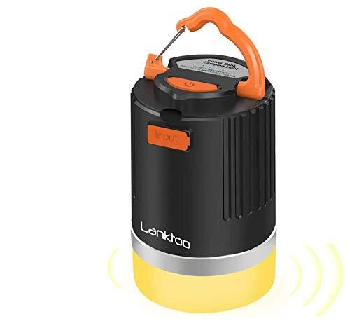 lanktoo 3 en 1 lanterne de camping rechargeable à LED, banque d'alimentation 12800mAh et lampe anti-moustique, lumière de tente extérieure étanche à 5 modes pour la pêche en cas d'urgence