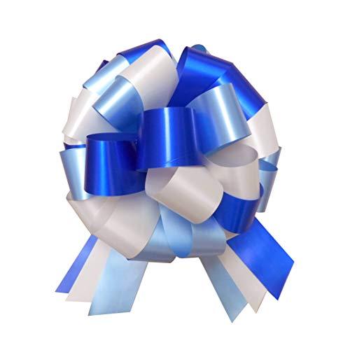 Jaffa Imports Große Geschenkschleife (25,4 cm) + 6 Meter blaues Band für Autos, Fahrräder, Kinderwagen, Babypartys, Geburtstags, Blau/Creme/Marineblau