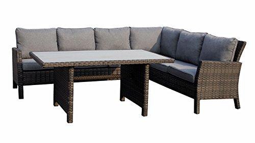 Lifestyle For Home Garten Sitzecke Madison Sitzgruppe Eckbank mit Tisch Polyrattan grau braun