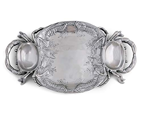 Arthur Court Aluminum Metal Crab Platter/Tray Heavy Quality Coastal Décor for Serving Food and Drinks 24 Inches x 13.5 Inches