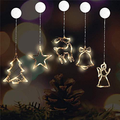 Kompassswc LED Fensterlicht 5 Stück(Stern,Glocke,Hirsch,Engel,Weihnachtsbaum) led Fenstersilhouette Saugnapf Fensterbild Weihnachtsbeleuchtung Kinderzimmer Schaufenster Weihnachtsdeko