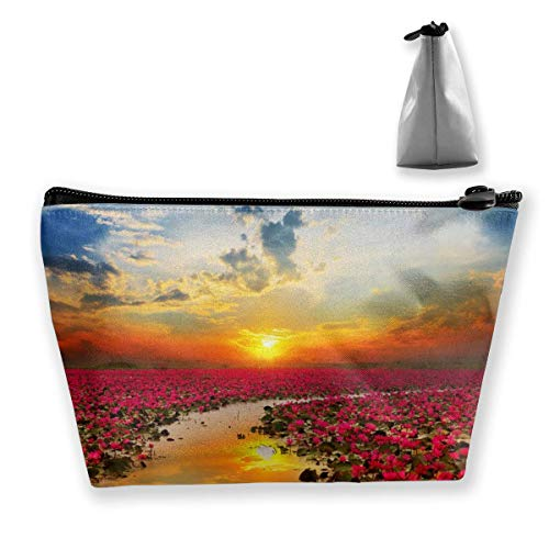 Hipiyoled Bolsa de cosméticos portátil Sunshine Rising Flor de loto multifuncional impresión trapezoidal bolsa de almacenamiento para mujer