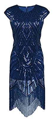 Women's 1920s Crew Neck Short Sleeves Beaded Sequin Fringe Art Deco Gatsby Flapper Dress