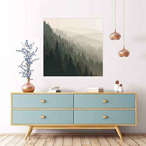 Cuadro moderno para pared sin marca, ángulo de visión de bosque verde, para sala de estar, dormitorio, baño, decoración de pared lista para colgar 40,6 x 40,6 cm