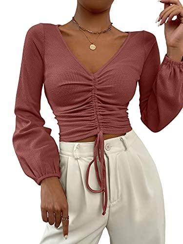 SOLY HUX Camiseta de manga larga para mujer con cuello en V, Gris-Rosa, M