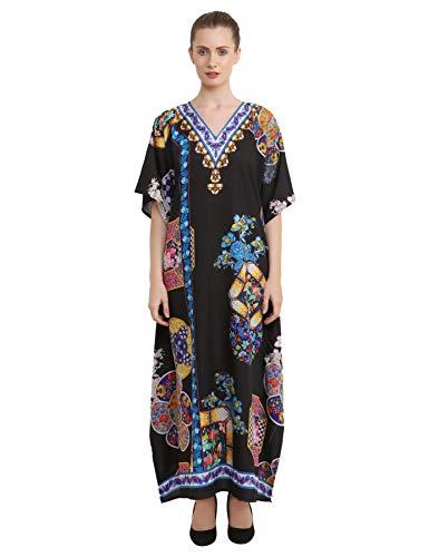 Miss Lavish London Kaftan Vestido - Caftans para mujer - Caftans para mujer - Traje para adolescentes a mujeres adultas en tamaño regular a Plus Negro 145-negro 46-50