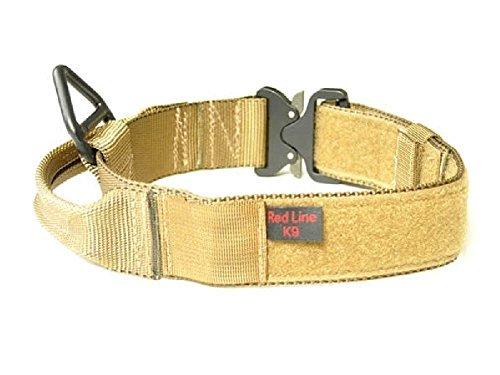 RedLine K9 Maxtac 1.75' Coyote Brown Service Dog Id Collar with Handle & Cobra Buckle