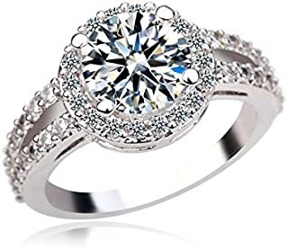 SR Women's Fashion Ring 18K Real White Gold Plated Luxury Inlaid with Swarovski Elements Diamonds