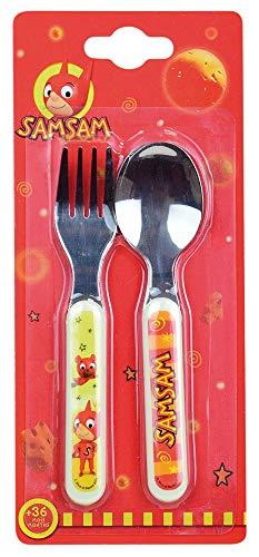 FUN HOUSE 005827 SAMSAM Set de couverts composé d'une cuillère et d'une fourchette pour enfant