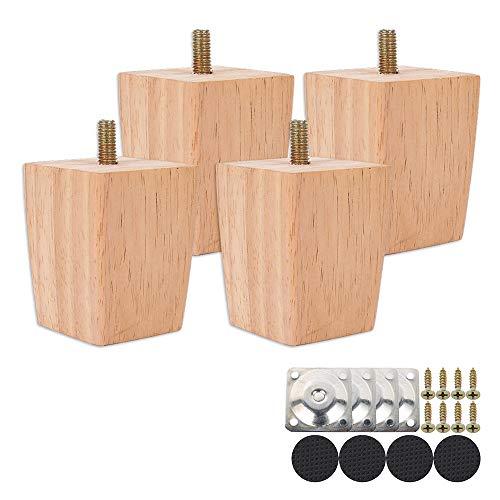 4 gambe per mobili in legno, quadrate e robuste, mobili di ricambio, mobili di ricambio, poltrone, armadi, gambe dritte, in legno, colore per divano ottomano (60 mm)