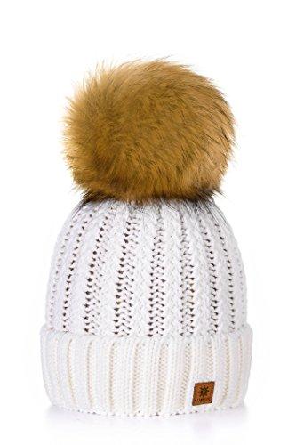 MFAZ Morefaz Ltd Winter Cappello Cristallo Grand Pom Pom Invernale di Lana Berretto delle Signore delle Donne Beanie Hat Pera Sci Snowboard di Moda (Ecru)