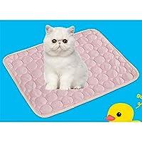 夏の冷却マット小大猫クッション夏はマットペットアイスパッド犬猫にテディマットレスマットを冷却クールベッドジェルペットを飼います (Color : Pink, Size : M)