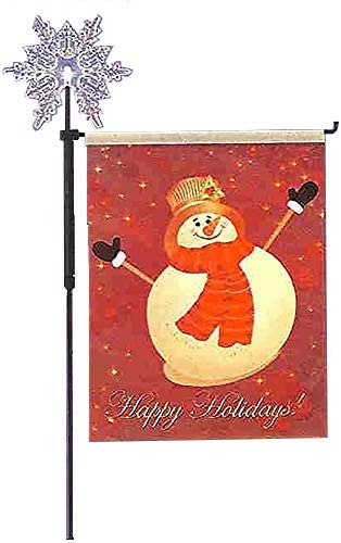 """wholesale 27"""" Snowman outlet online sale Holiday Garden Flag with Lighted online Color Changing Snow Flake Stake outlet online sale"""