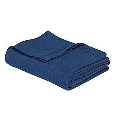 Cotton Craft - 100% Soft Premium Cotton Thermal Blanket - Full/Queen Navy - Snuggle in these Super Soft Cozy Cotton Blankets - Perfect for Layering any Bed - Provides Comfort and Warmth for years